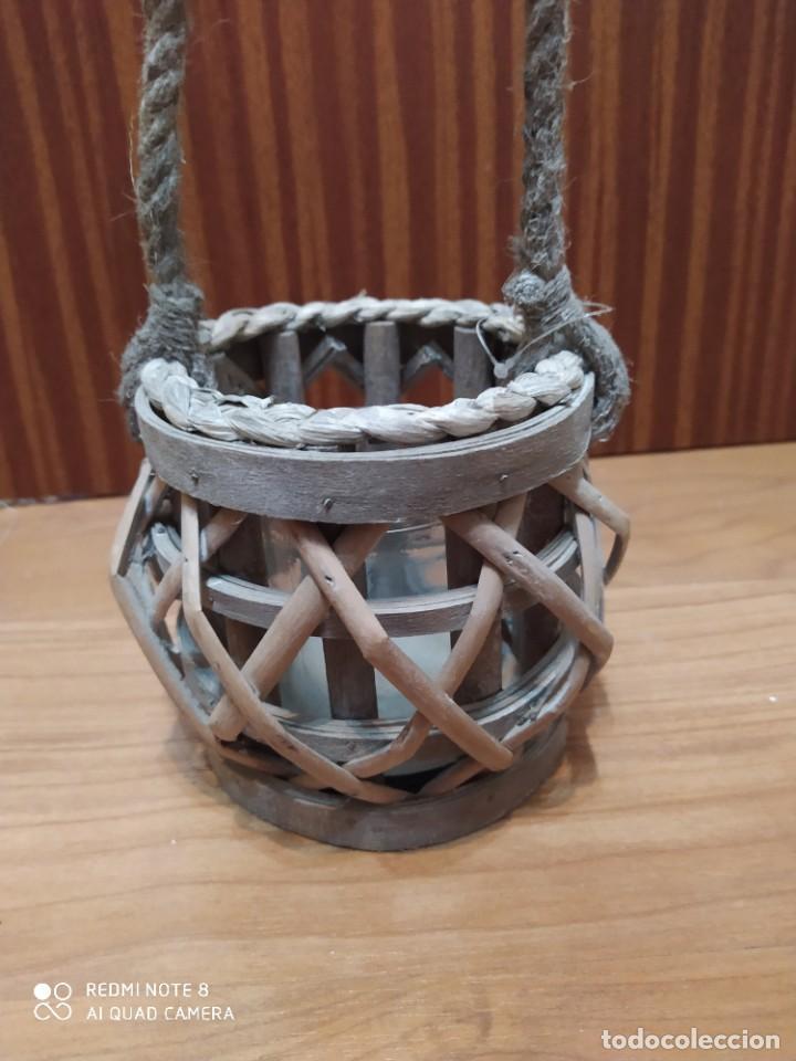 Antigüedades: Lote 3 portavelas rústico de mimbre colgante, porta vela artesanal, artesanía para colgar - Foto 4 - 206583318