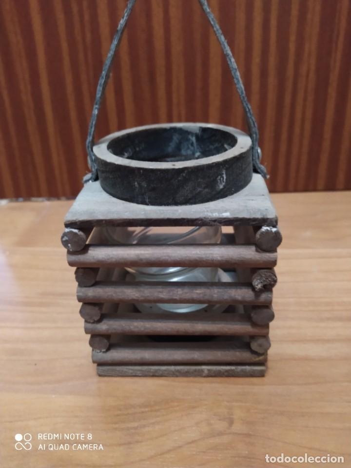 Antigüedades: Lote 3 portavelas rústico de mimbre colgante, porta vela artesanal, artesanía para colgar - Foto 6 - 206583318
