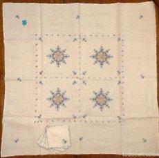 Antigüedades: MANTEL TE LAGARTERA SOLES AZUL N1 105X105. Lote 206623830