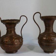 Antigüedades: PAREJA DE JARRONES DE COBRE. Lote 206749622