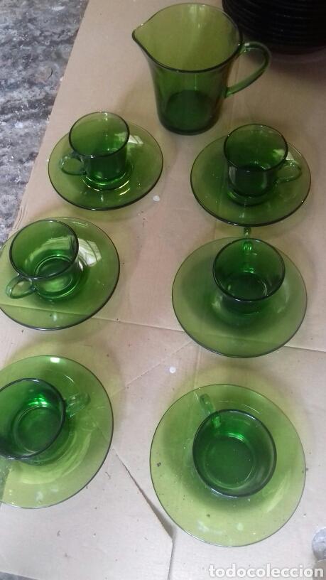 001. Vajilla Duralex verde. varias piezas segunda mano