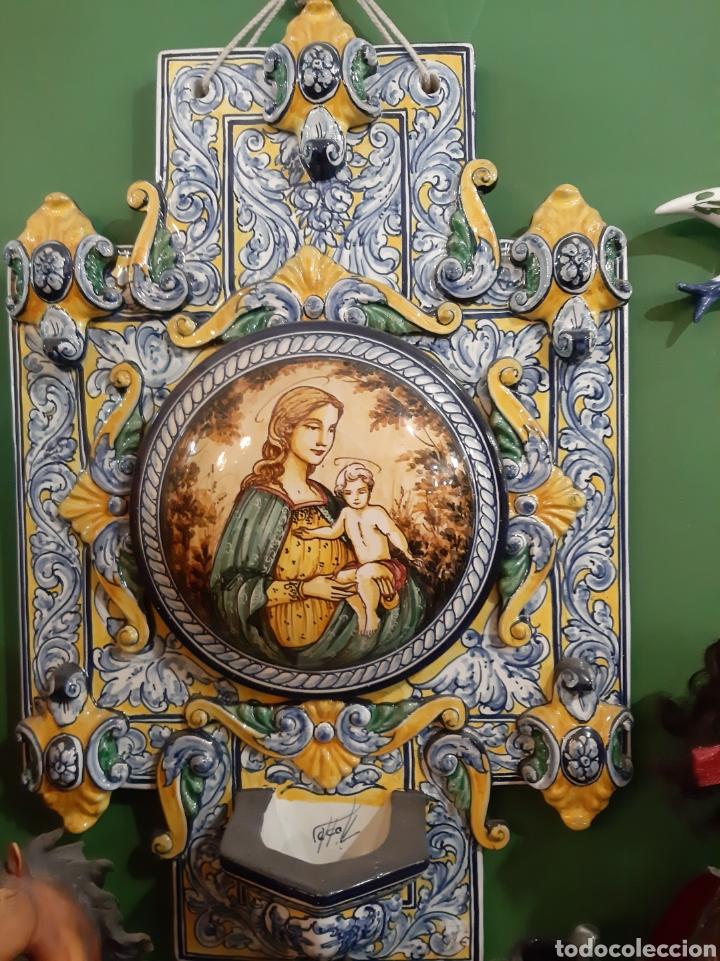 Antigüedades: Gran benditera Española 60 alto X 40 ancho MAESTRO ROBLES FIRMADA ESPAÑA - Foto 3 - 122170779