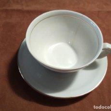 Antigüedades: UNA TAZA DE CAFÉ Y PLATO BLANCO, MAH SL, MANUEL ALVAREZ E HIJOS, VIGO. Lote 206780187