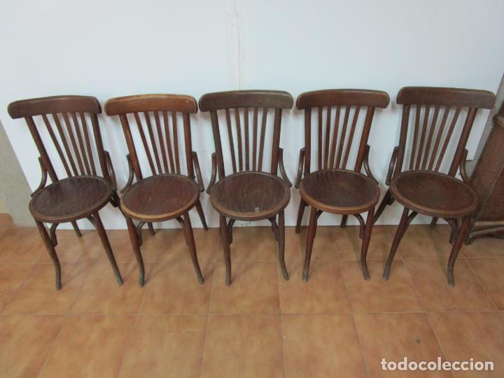 Antigüedades: Conjunto de 5 Sillas de Café - Silla Estilo Thonet - Madera de Haya - Años 30-40 - Foto 3 - 206784538