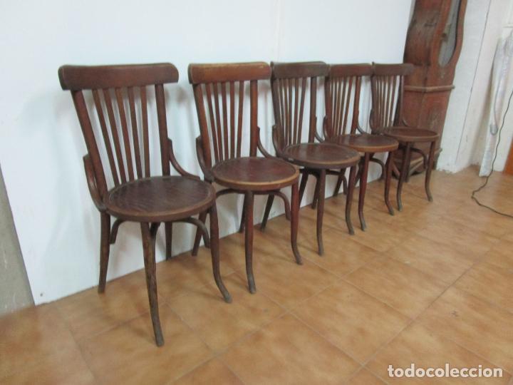 Antigüedades: Conjunto de 5 Sillas de Café - Silla Estilo Thonet - Madera de Haya - Años 30-40 - Foto 24 - 206784538
