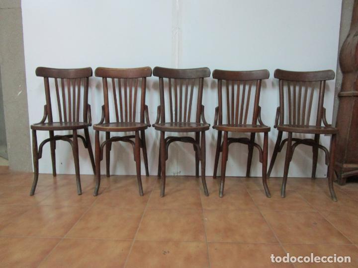 Antigüedades: Conjunto de 5 Sillas de Café - Silla Estilo Thonet - Madera de Haya - Años 30-40 - Foto 25 - 206784538