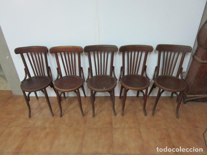 Antigüedades: Conjunto de 5 Sillas de Café - Silla Estilo Thonet - Madera de Haya - Años 30-40 - Foto 26 - 206784538