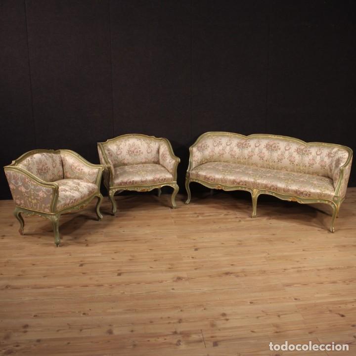Antigüedades: Par de sillones venecianos lacados, dorados y pintados. - Foto 2 - 206787030
