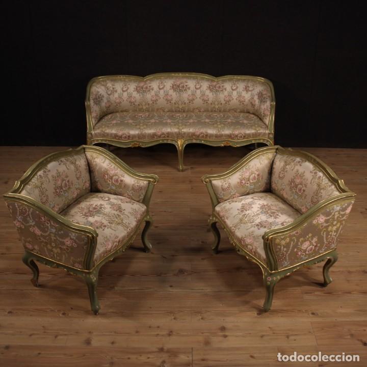 Antigüedades: Par de sillones venecianos lacados, dorados y pintados. - Foto 3 - 206787030