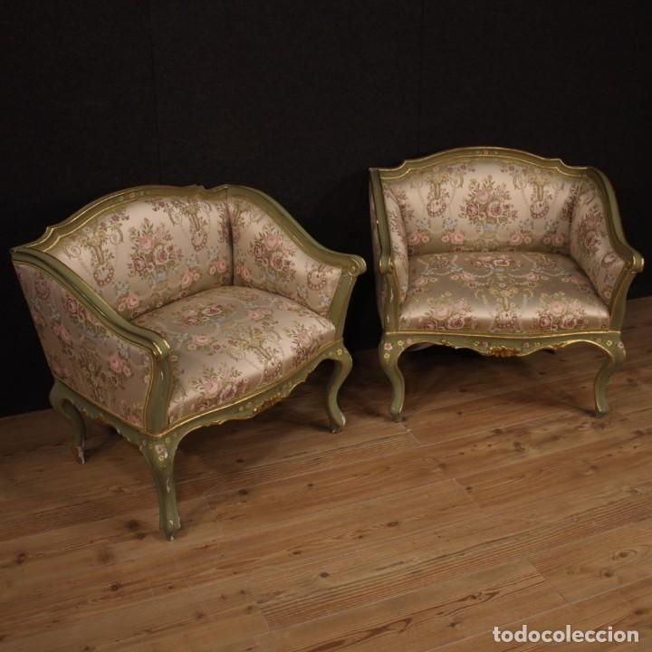 Antigüedades: Par de sillones venecianos lacados, dorados y pintados. - Foto 4 - 206787030