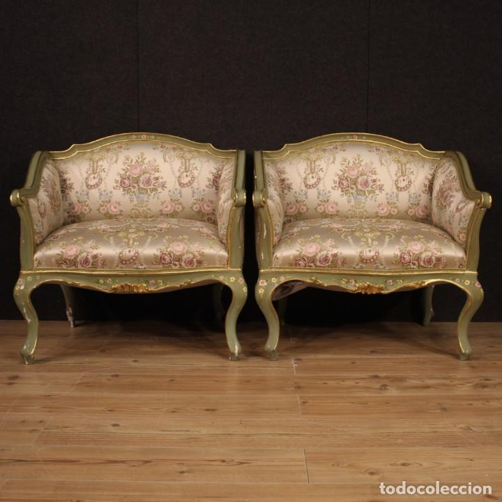 Antigüedades: Par de sillones venecianos lacados, dorados y pintados. - Foto 6 - 206787030