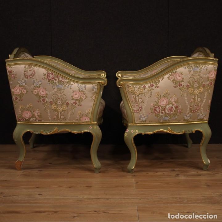 Antigüedades: Par de sillones venecianos lacados, dorados y pintados. - Foto 7 - 206787030