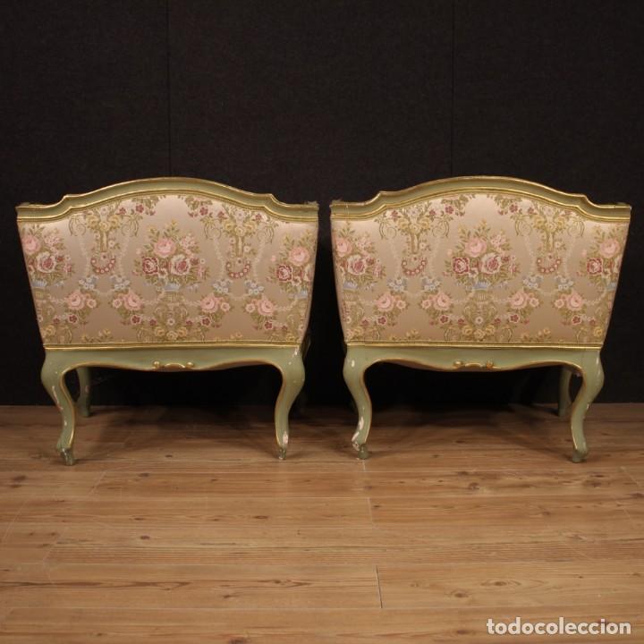 Antigüedades: Par de sillones venecianos lacados, dorados y pintados. - Foto 8 - 206787030
