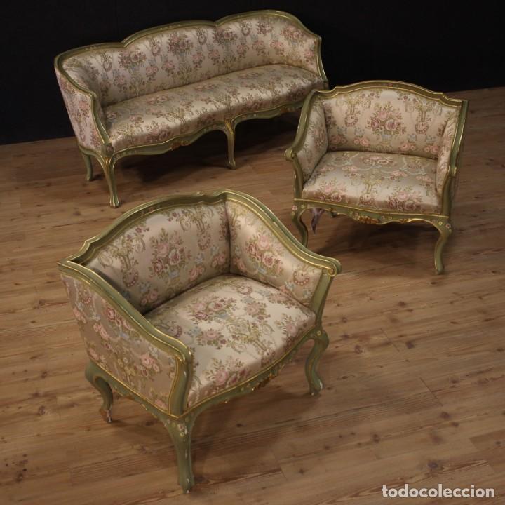 Antigüedades: Par de sillones venecianos lacados, dorados y pintados. - Foto 11 - 206787030