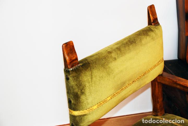 Antigüedades: Conjunto de despacho en roble macizo o similar. Escritorio con cajones, sillón y silla pequeña. - Foto 6 - 206798516
