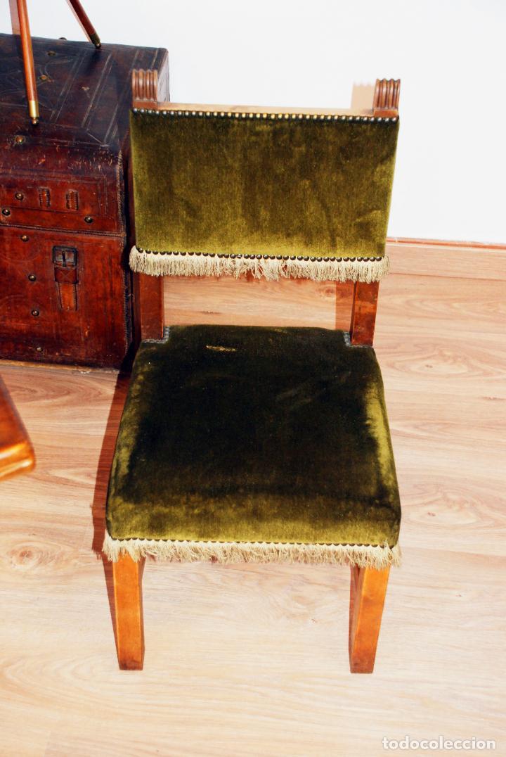 Antigüedades: Conjunto de despacho en roble macizo o similar. Escritorio con cajones, sillón y silla pequeña. - Foto 13 - 206798516