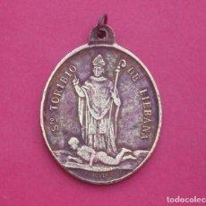 Antigüedades: MEDALLA SIGLO XIX SANTO TORIBIO DE LIÉBANA TRIUNFANDO SOBRE PRISCILIANO. MUY RARA. CANTABRIA.. Lote 206825438