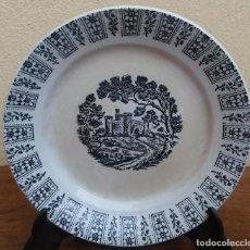 Antigüedades: ANTIGUO PLATO DE CERÁMICA LA CARTUJA PICKMAN, SERIE NEGRA. PAISAJE IMAGINARIO.. Lote 206827883