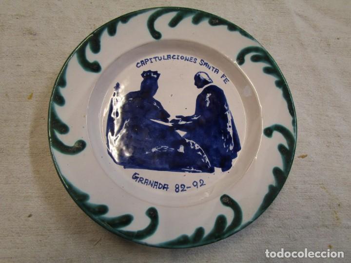 PLATO DECORATIVO CAPITULACIONES DE SANTA FE, GRANADA 82-92 - 430GR, 19.5CM FAJALAUZA+ INFO (Antigüedades - Porcelanas y Cerámicas - Fajalauza)