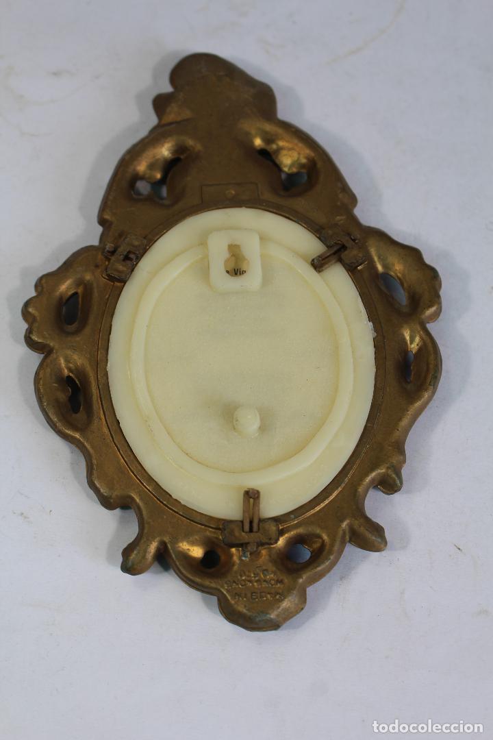Antigüedades: cuadro pequeño ovalado pasta dorada y lamina - Foto 3 - 206853748