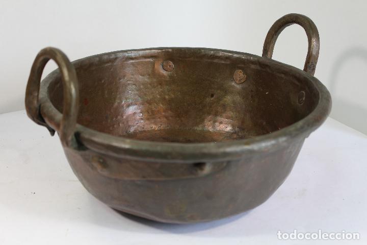 Antigüedades: perol antiguo de cobre - Foto 2 - 206854760