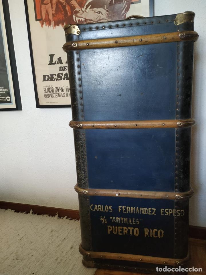 Antigüedades: Baúl maleta antigua enorme de viaje - Foto 3 - 206871081