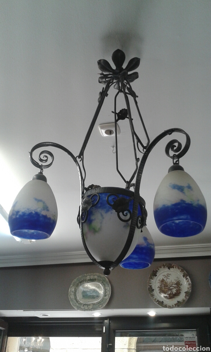 Antigüedades: Lámpara art deco firmada DEGUE (ORIGINAL) - Foto 3 - 206881548