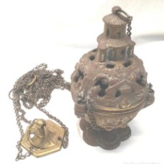 Antigüedades: INCIENSARIO, TURÍBULO O BOTAFUMEIRO DE BRONCE S XIX. MED. 97 CM. Lote 206898556