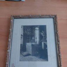 Antigüedades: FOTO ANTIGUA RECLINATORIO ENMARCADA RUPEREZ PAMPLONA. Lote 206937315