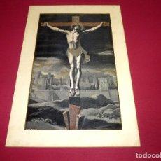 Antigüedades: MUY ANTIGUO BORDADO DE PHILIPPE DE CHAMPAIGNE CRISTO EN LA CRUZ XIX.47 X 28.5 CM.. Lote 206944386
