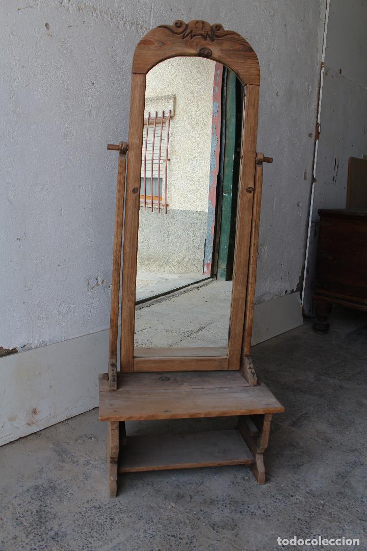 Antigüedades: espejo de pie rustico - Foto 5 - 206953897
