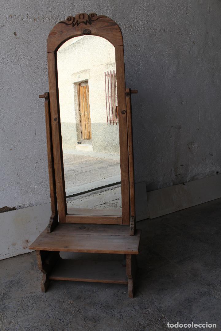 Antigüedades: espejo de pie rustico - Foto 6 - 206953897