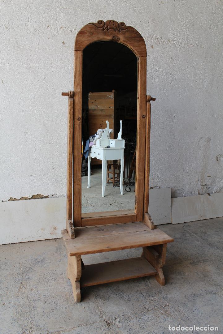 Antigüedades: espejo de pie rustico - Foto 7 - 206953897