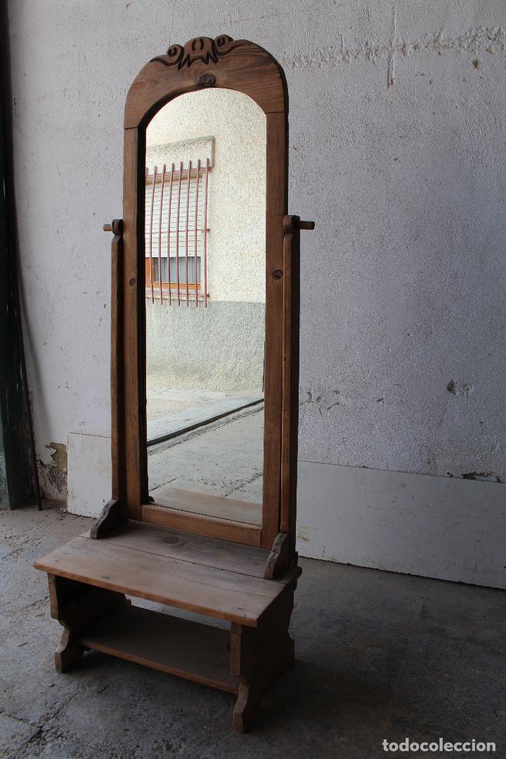 Antigüedades: espejo de pie rustico - Foto 8 - 206953897