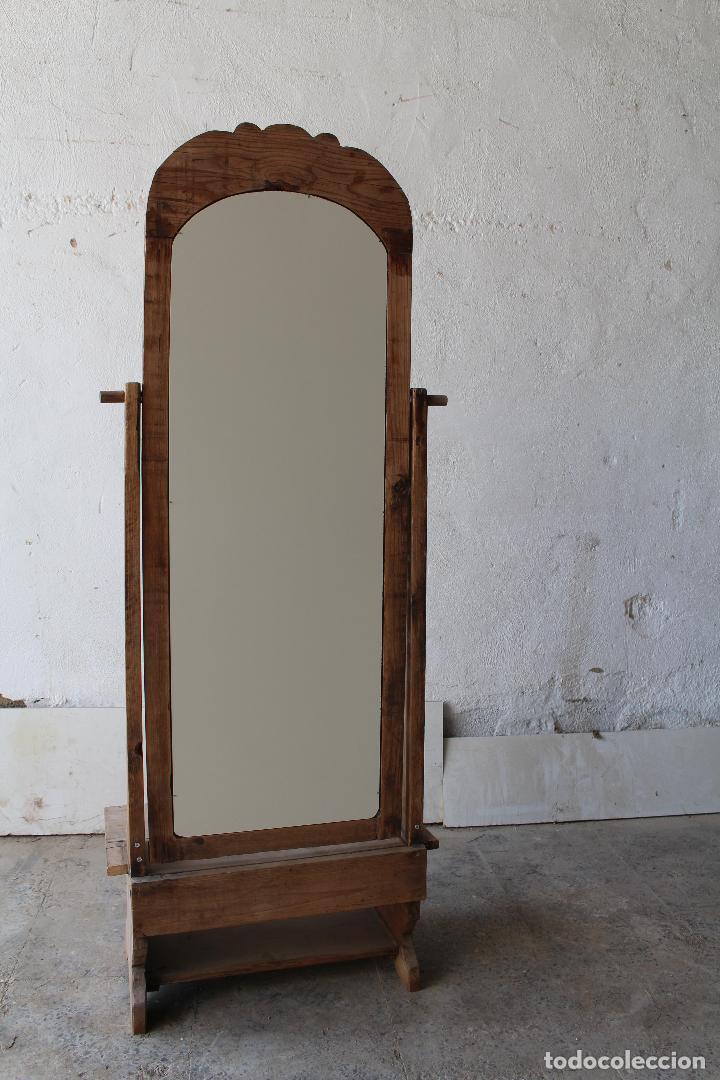 Antigüedades: espejo de pie rustico - Foto 10 - 206953897