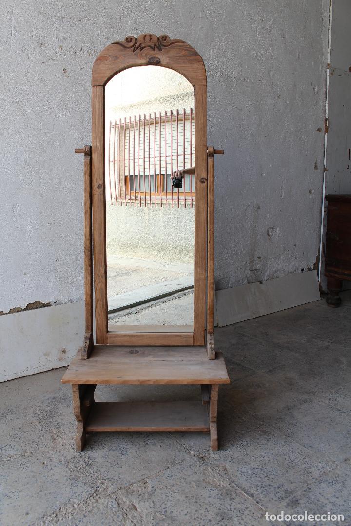 Antigüedades: espejo de pie rustico - Foto 11 - 206953897