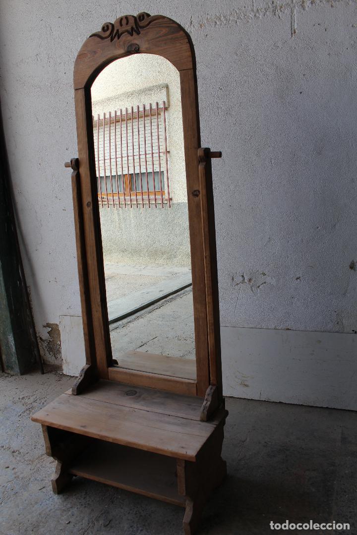 Antigüedades: espejo de pie rustico - Foto 12 - 206953897