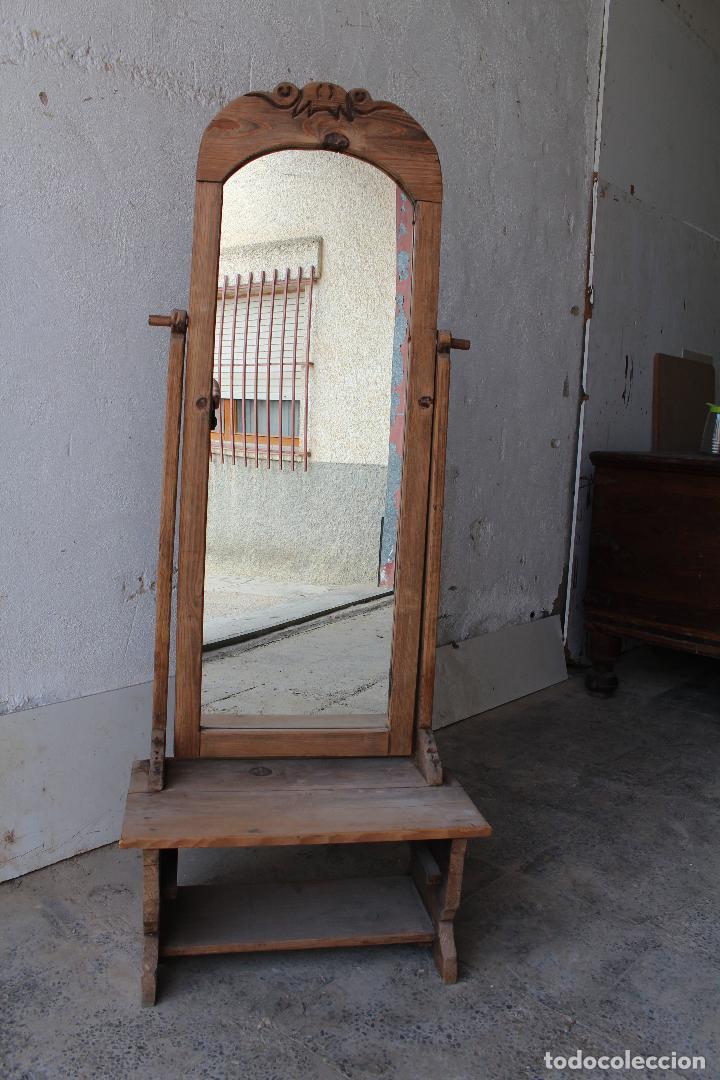 ESPEJO DE PIE RUSTICO (Antigüedades - Muebles Antiguos - Espejos Antiguos)