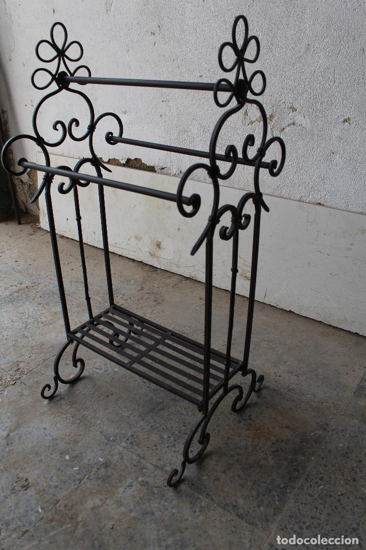 Antigüedades: gabanero recibidor en hierro de forja - Foto 2 - 206955218