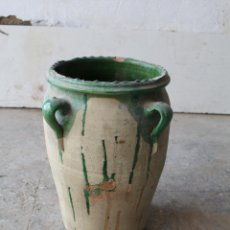 Antigüedades: ANTIGUA ORZA O PEQUEÑA TINAJA CON CUATRO ASAS . ESMALTE VERDE ALTURA. Lote 206959378