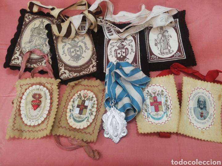 LOTE DE ESCAPULARIOS. ANTIGUOS (Antigüedades - Religiosas - Medallas Antiguas)