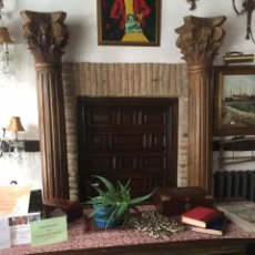 Antigüedades: ANTIGUAS COLUMNAS BARROCAS MADERA MACIZA TALLADA. Lote 206979202