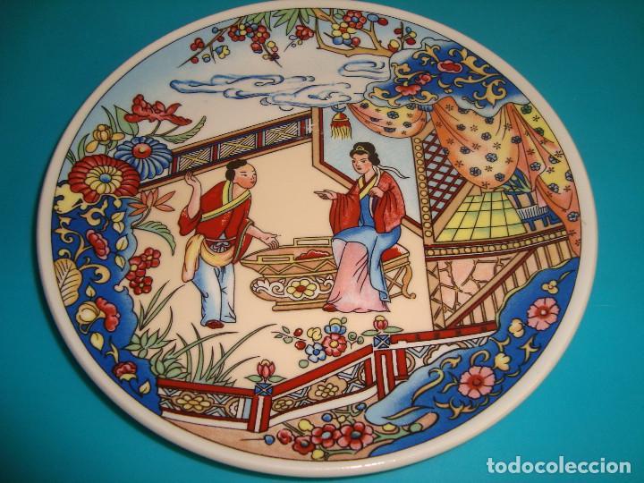 ANTIGUO PLATO DE PORCELANA CHINA, FINALES DEL SIGLO XX, 14CM. (Antigüedades - Porcelanas y Cerámicas - China)