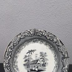 Antigüedades: PLATO NEGROLOZA REAL FÁBRICA SARGADELOS TERCERA ÉPOCA VISTAS DE HABANA EL TRIVOLI HACÍA 1848. 23 CM. Lote 207016522