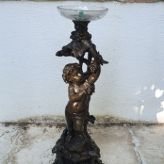 Antigüedades: CANDELABRO METAL Y CRISTAL. Lote 207029230