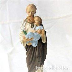 Antigüedades: SAN JOSÉ EN ESTUCO PINTADO A MANO. Lote 207045656