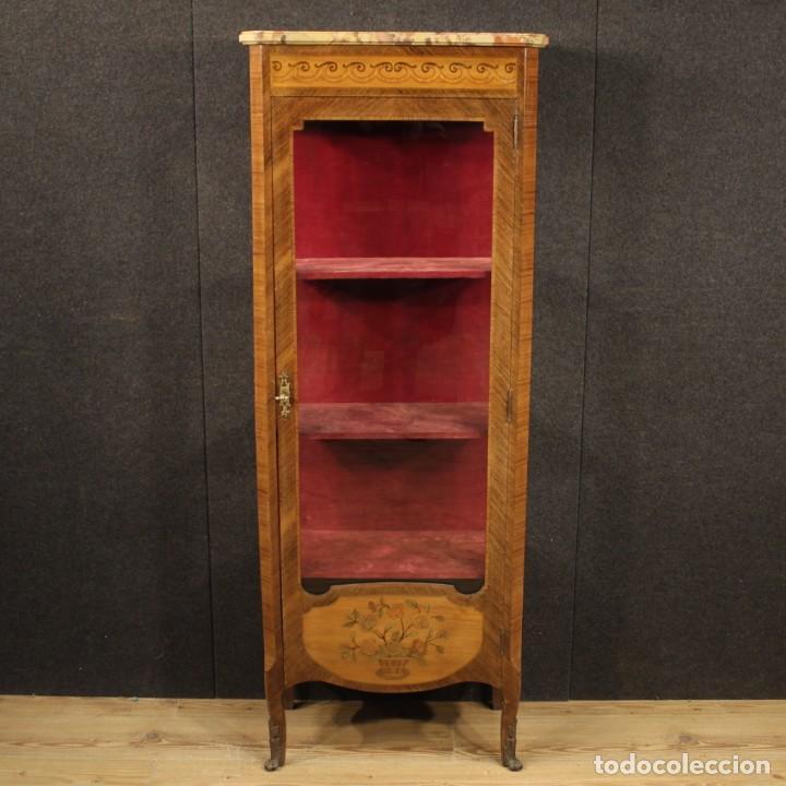 Antigüedades: Vitrina francesa en madera con incrustaciones con encimera de mármol - Foto 2 - 207060461
