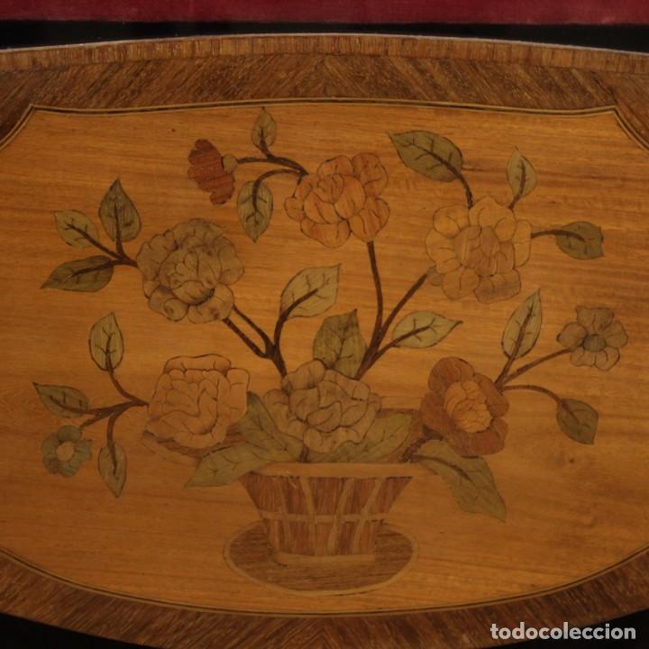 Antigüedades: Vitrina francesa en madera con incrustaciones con encimera de mármol - Foto 6 - 207060461