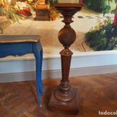 Antigüedades: GRAN PEAÑA COLUMNA O PEDESTAL EN MADERA DE ROBLE PARA ESCULTURA O PLANTA. Lote 207084245