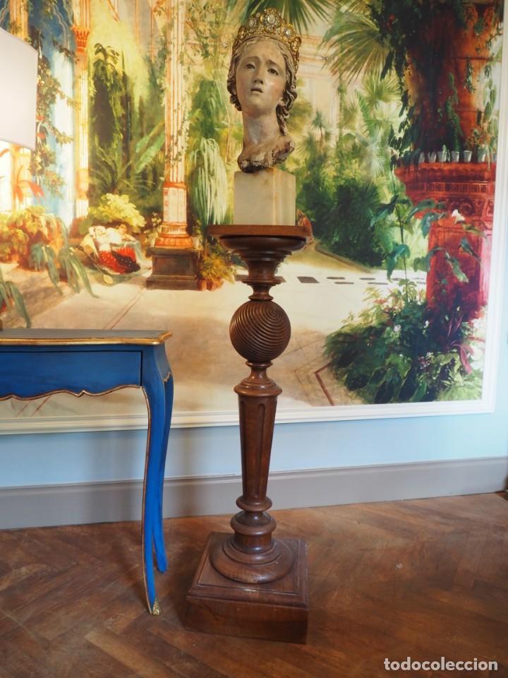 Antigüedades: Gran Peaña Columna o Pedestal en Madera de Roble para escultura o planta - Foto 3 - 207084245